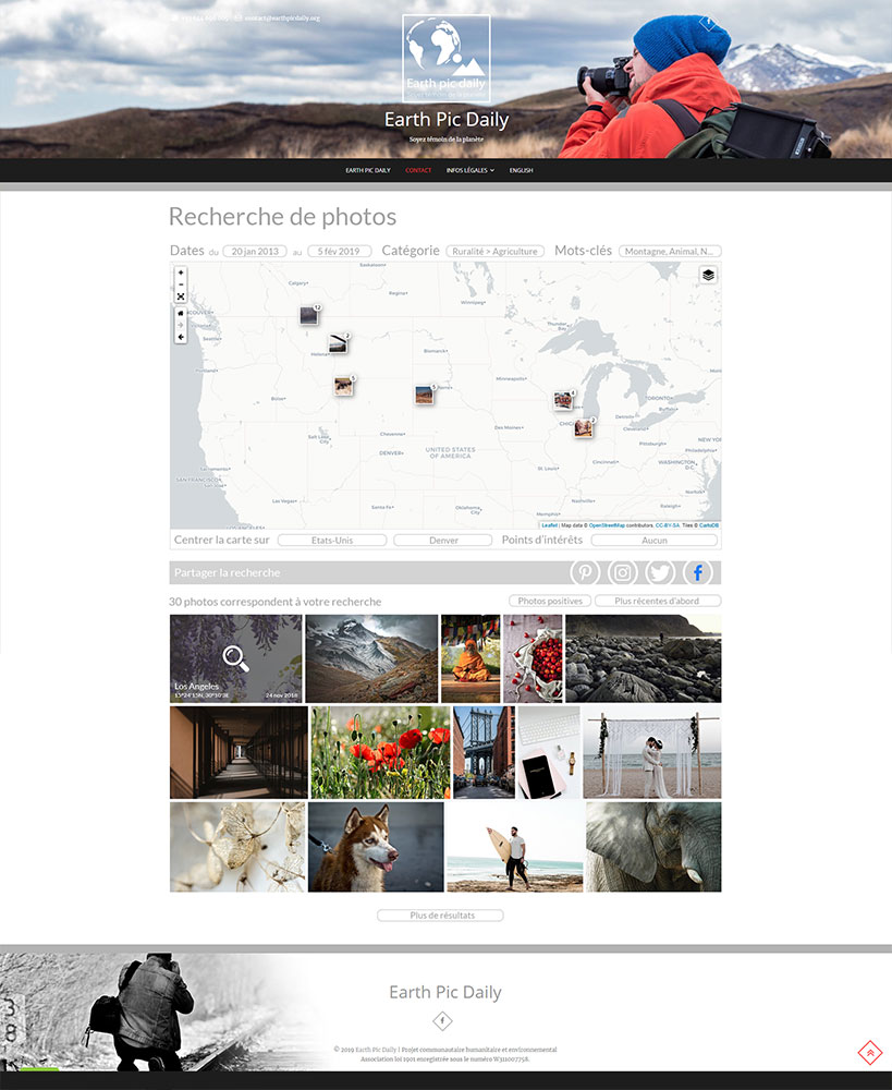 Earth Pic Daily -  Example Search page